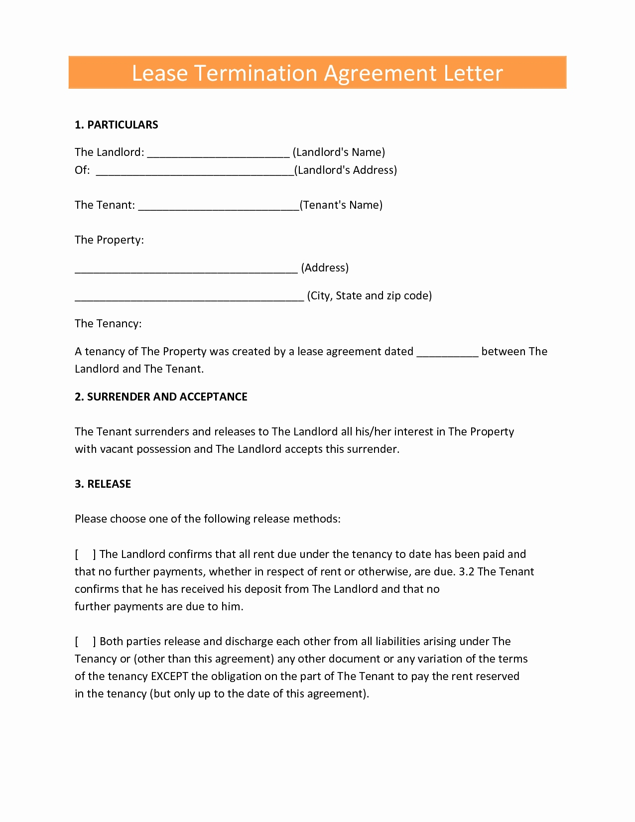 Early Lease Termination Letter to Landlord Template - 10 New Early Lease Termination Agreement