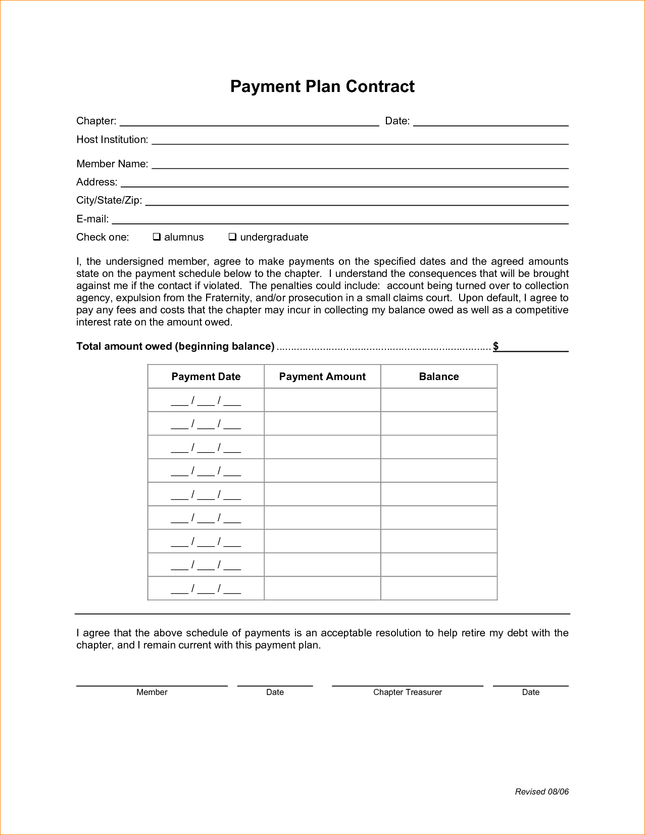 Payment Plan Proposal Letter Template - 10 Payment Plan Template