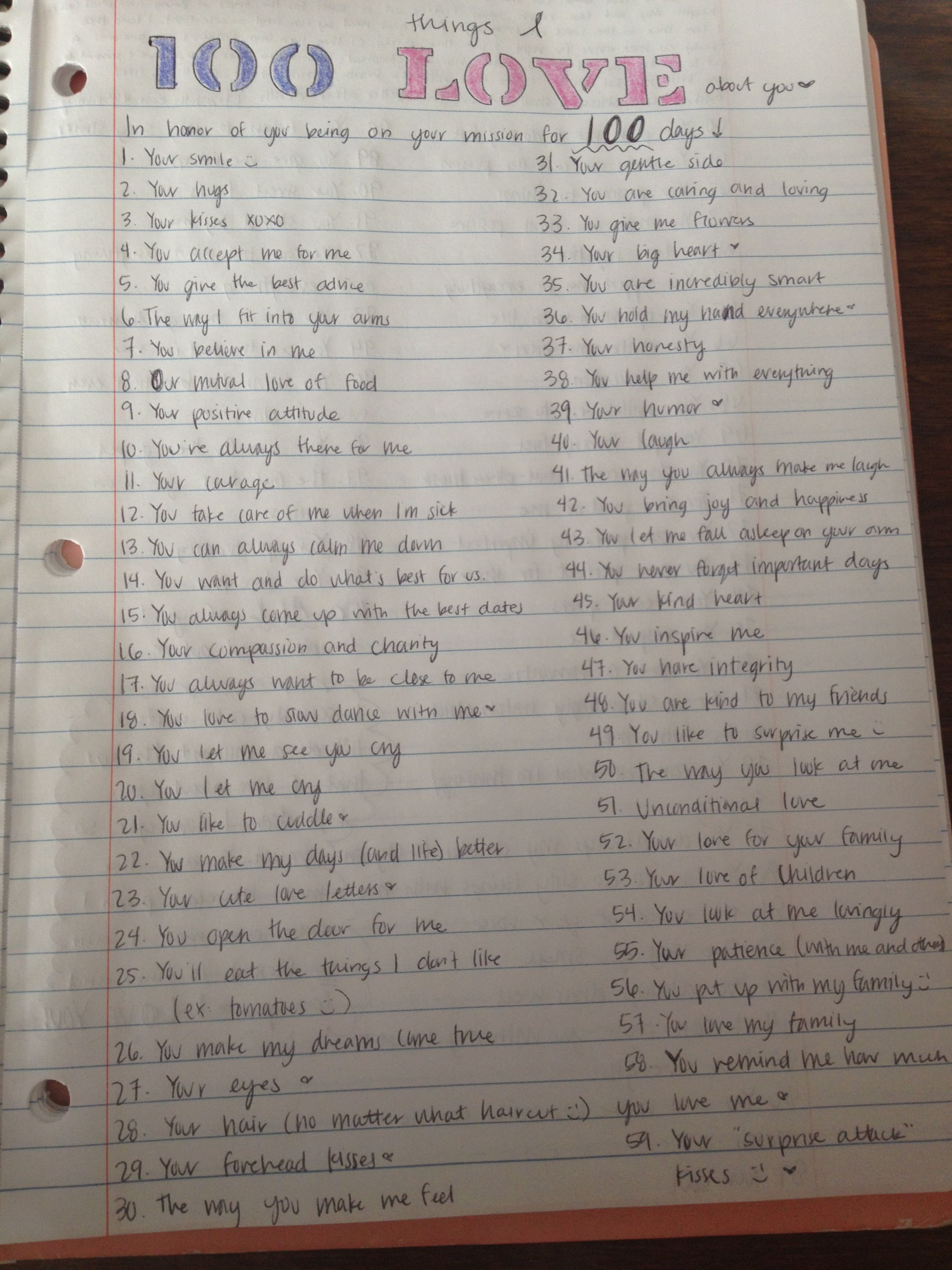 "Lds Missionary Letter Template - 100 Things I Love About You"" Lds Missionary Been Out for 100 Days"