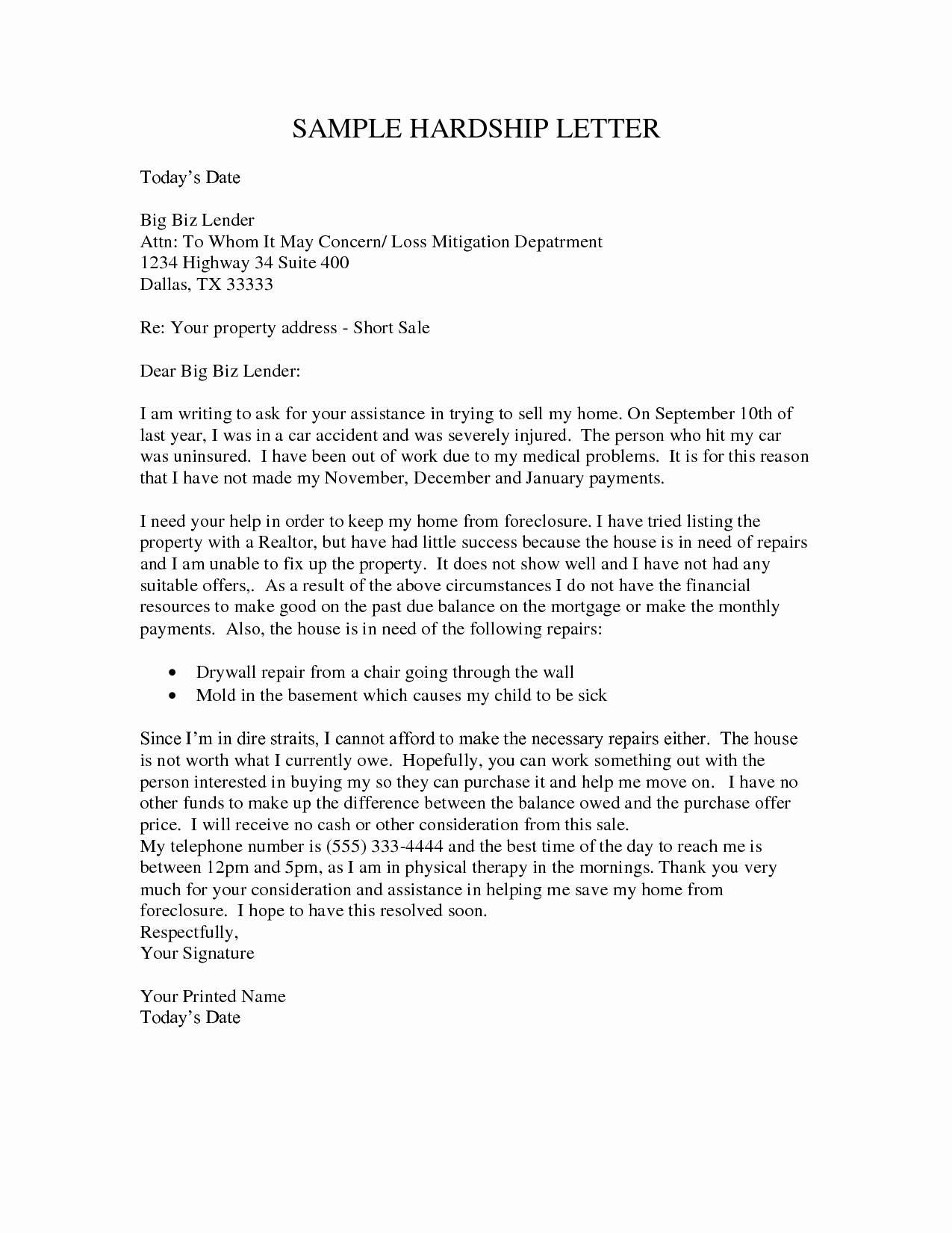 Short Sale Hardship Letter Template - 12 Unique Financial Hardship Letter Template Resume Templates