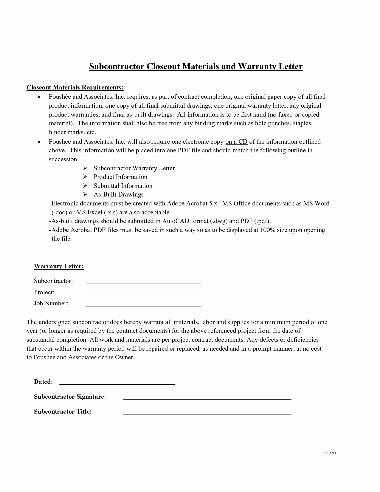 Subcontractor Warranty Letter Template - 12 Unique Land Contract Agreement
