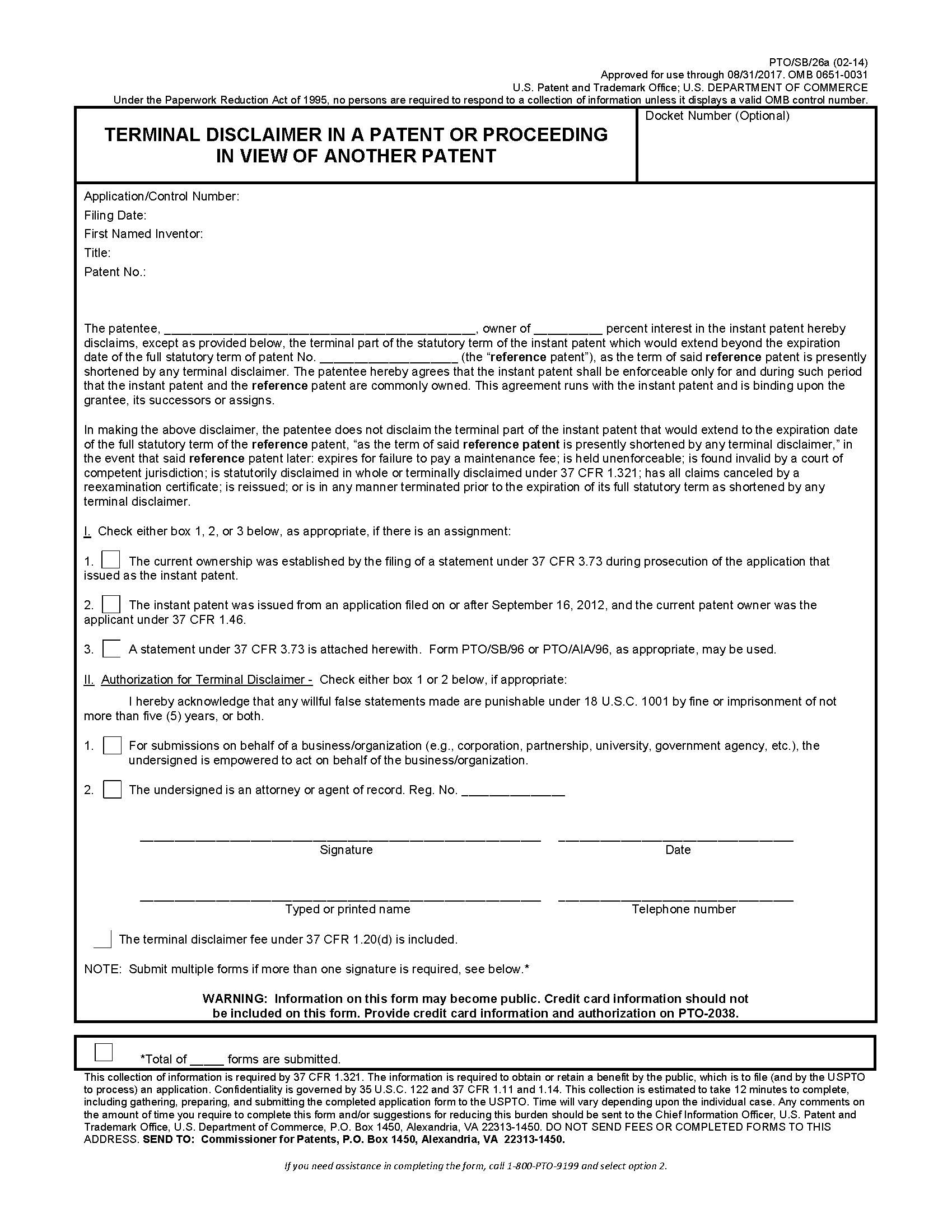 Patent Infringement Letter Template - 1490 Disclaimers