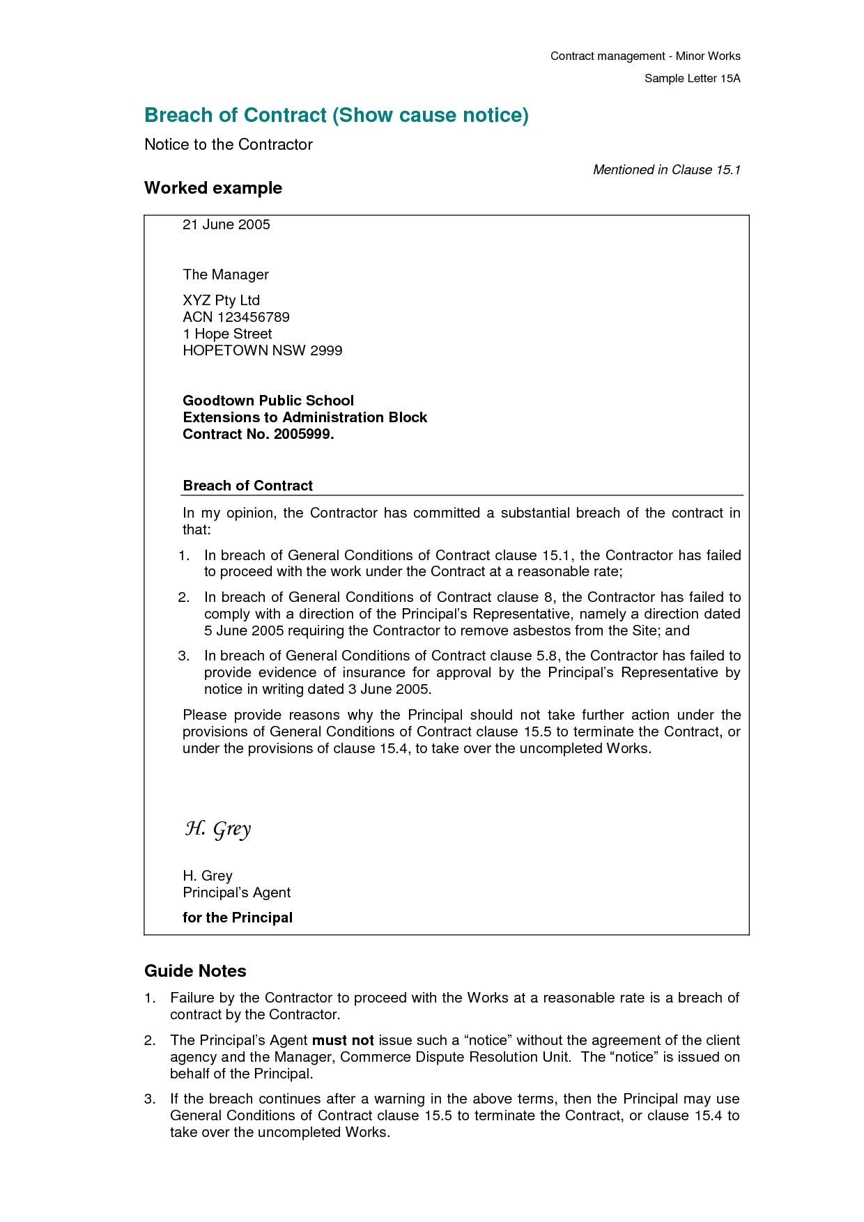 Breach Of Contract Letter Template - 18 Elegant Breach Contract Claim
