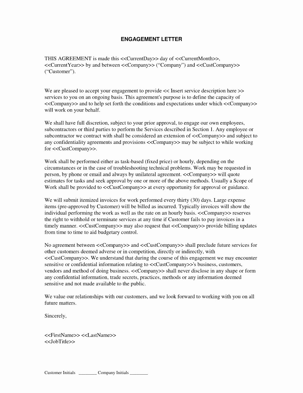 Business Valuation Engagement Letter Template - 18 Sample Consulting Engagement Letters