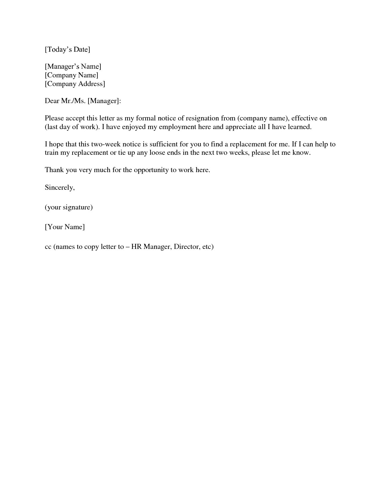 Letter Of Resignation Teacher Template - 2 Weeks Notice Letter Resignation Letter 2 Week Notice