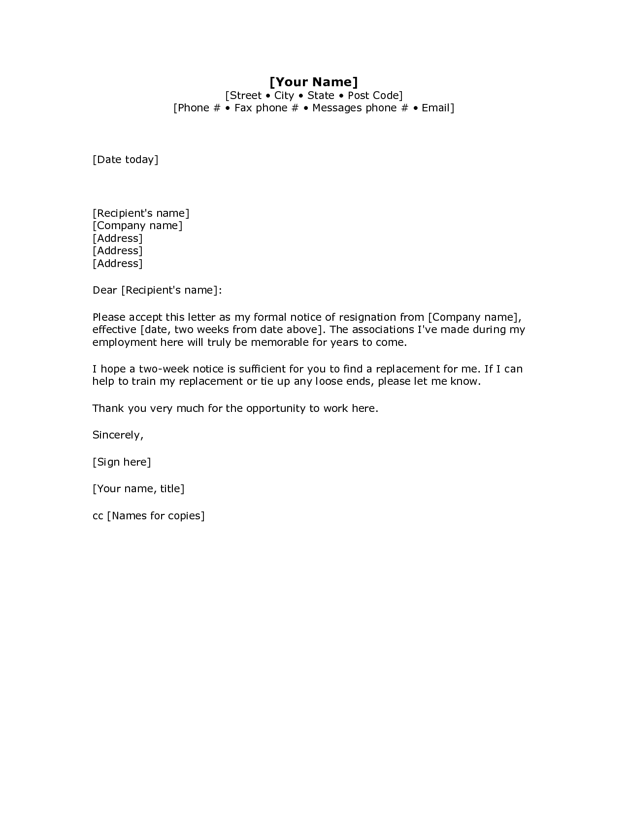 letter of resignation to employer