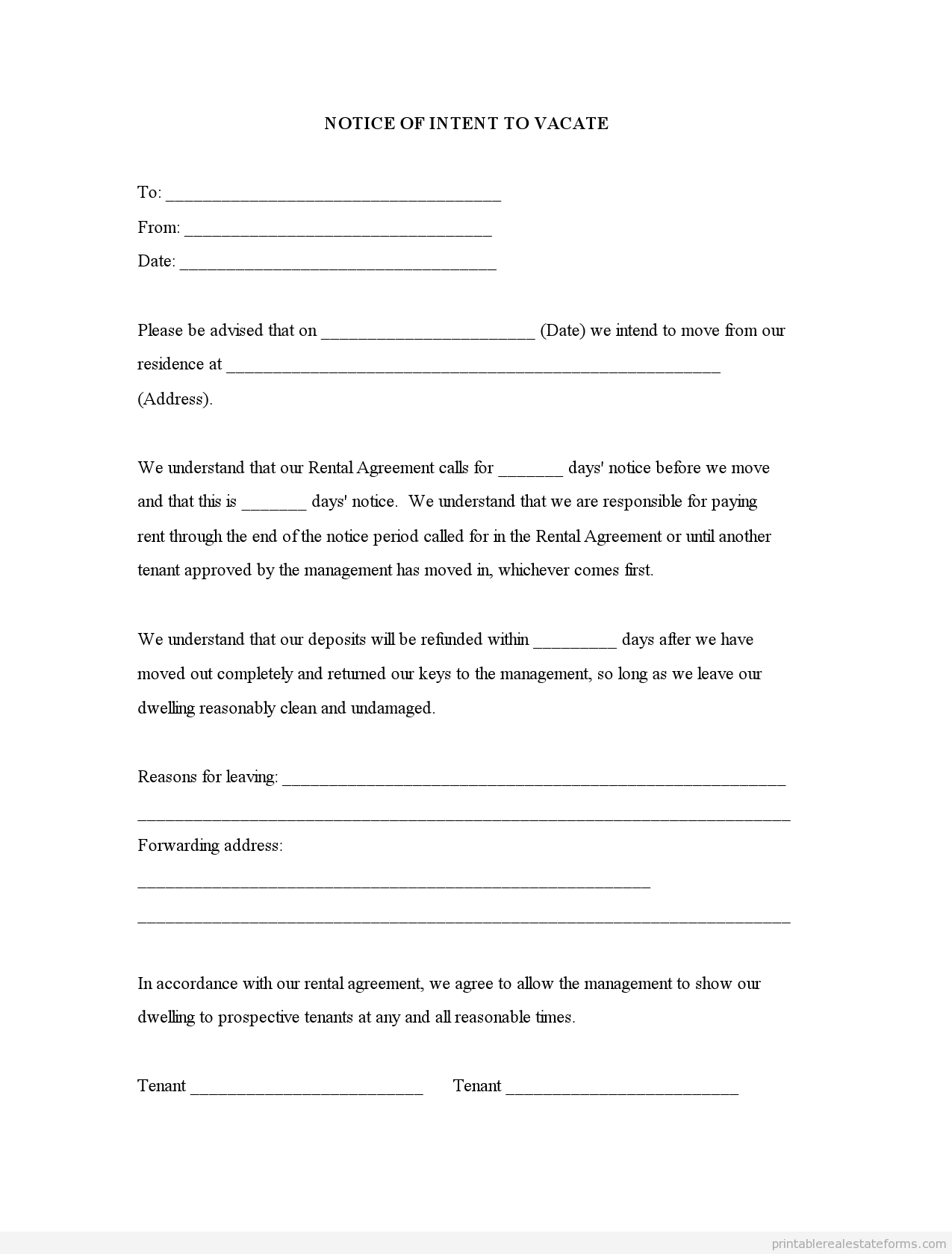Intent to Vacate Letter Template - 20 Beautiful Letter Template Vacating Property Pics