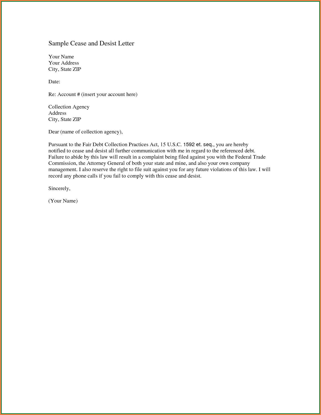 Cease and Desist Letter Template Amazon - 20 Best Debt Collection Letter Template Uk Free Graphics