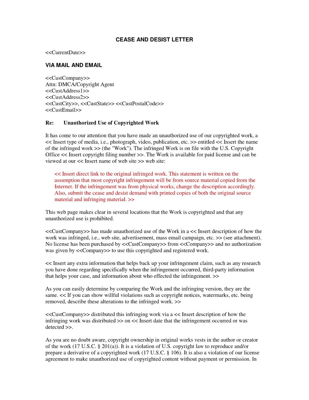 Cease and Desist Letter Patent Infringement Template - 20 Best Trademark Infringement Letter Template Uk Pics