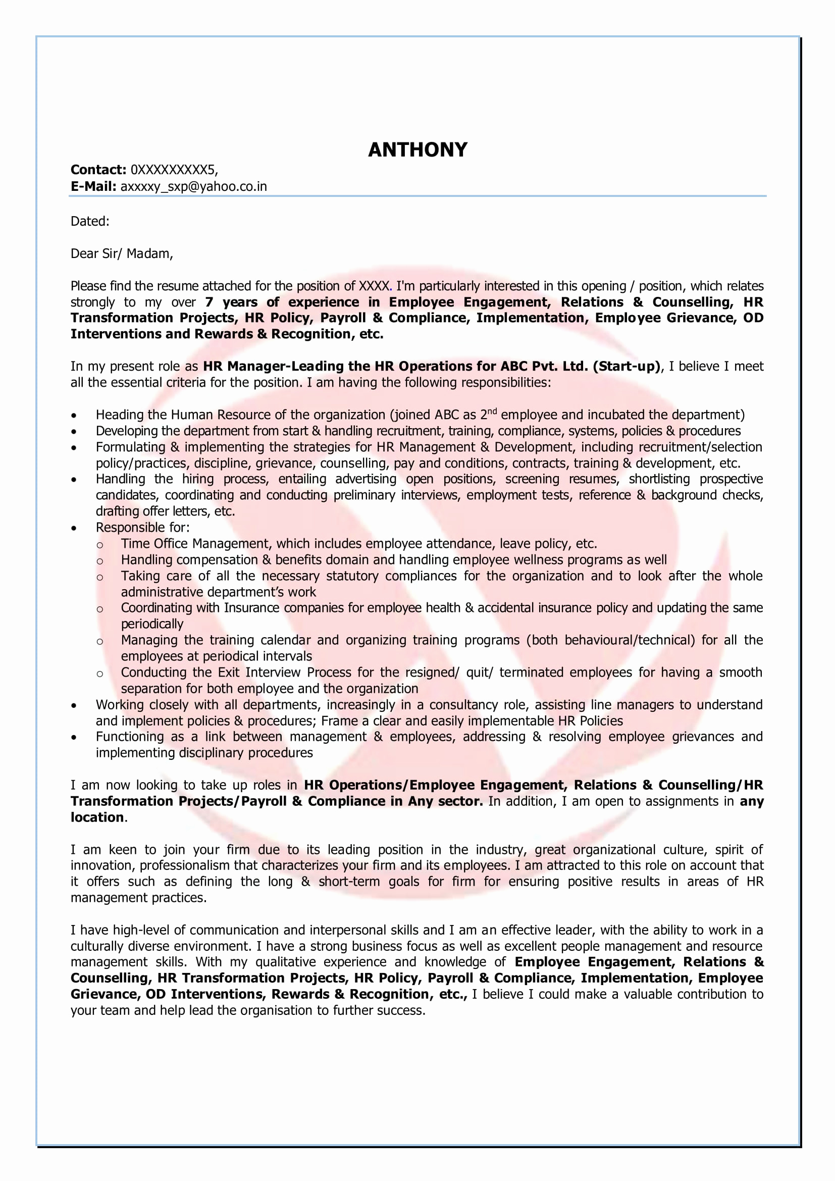 Asset Management Cover Letter Template - 20 Financial Manager Cover Letter