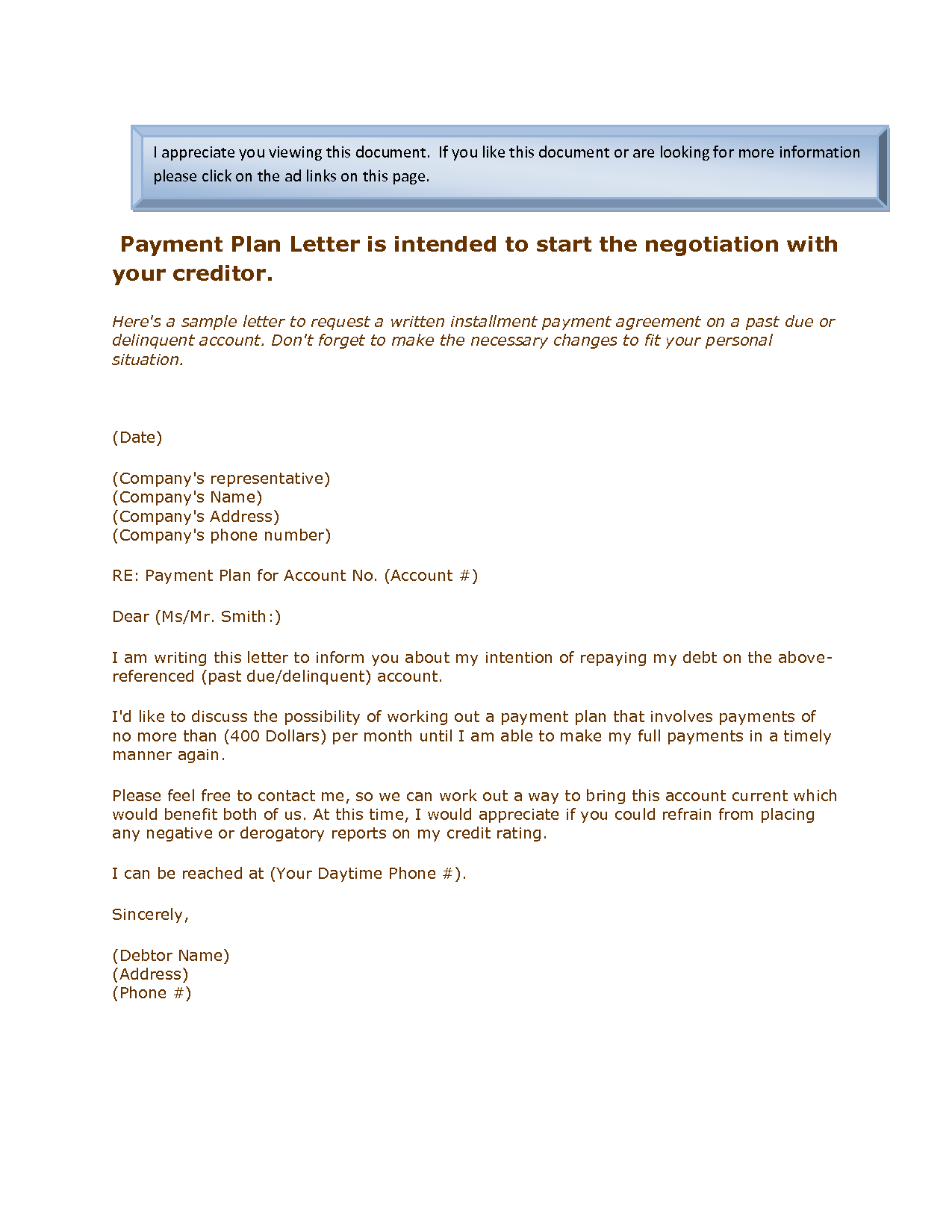 Payment Plan Letter Template - 20 Inspirational Payment Agreement Letter Examples