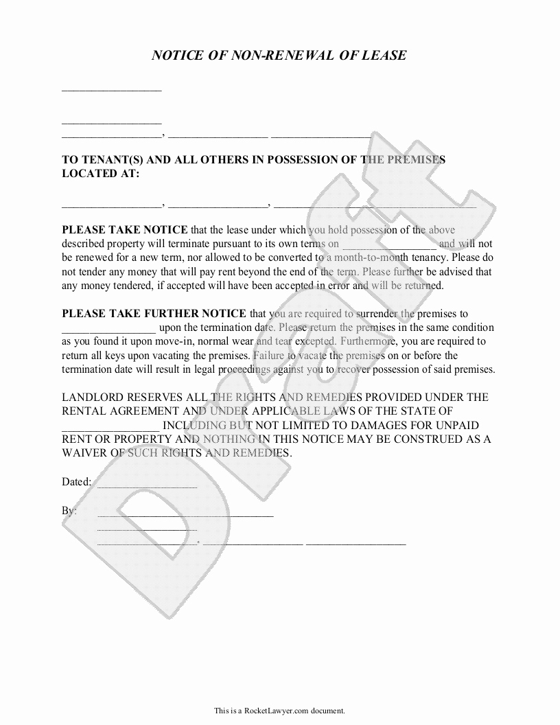 Nonrenewal Of Lease Letter Template - 20 Lease Termination Letter From Landlord