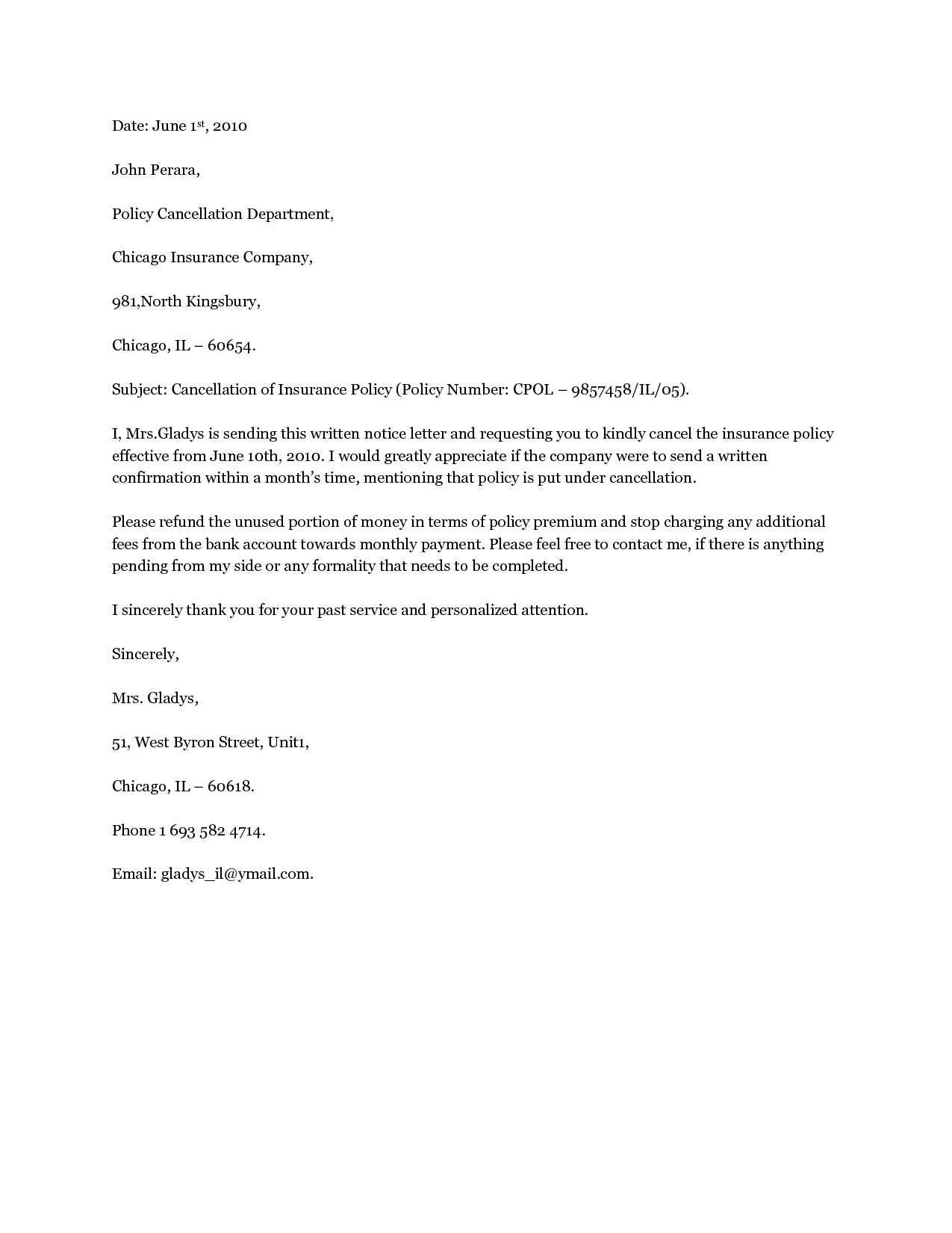 letter template for insurance cancellation  Insurance Policy Cancellation Letter Template Samples | Letter ...