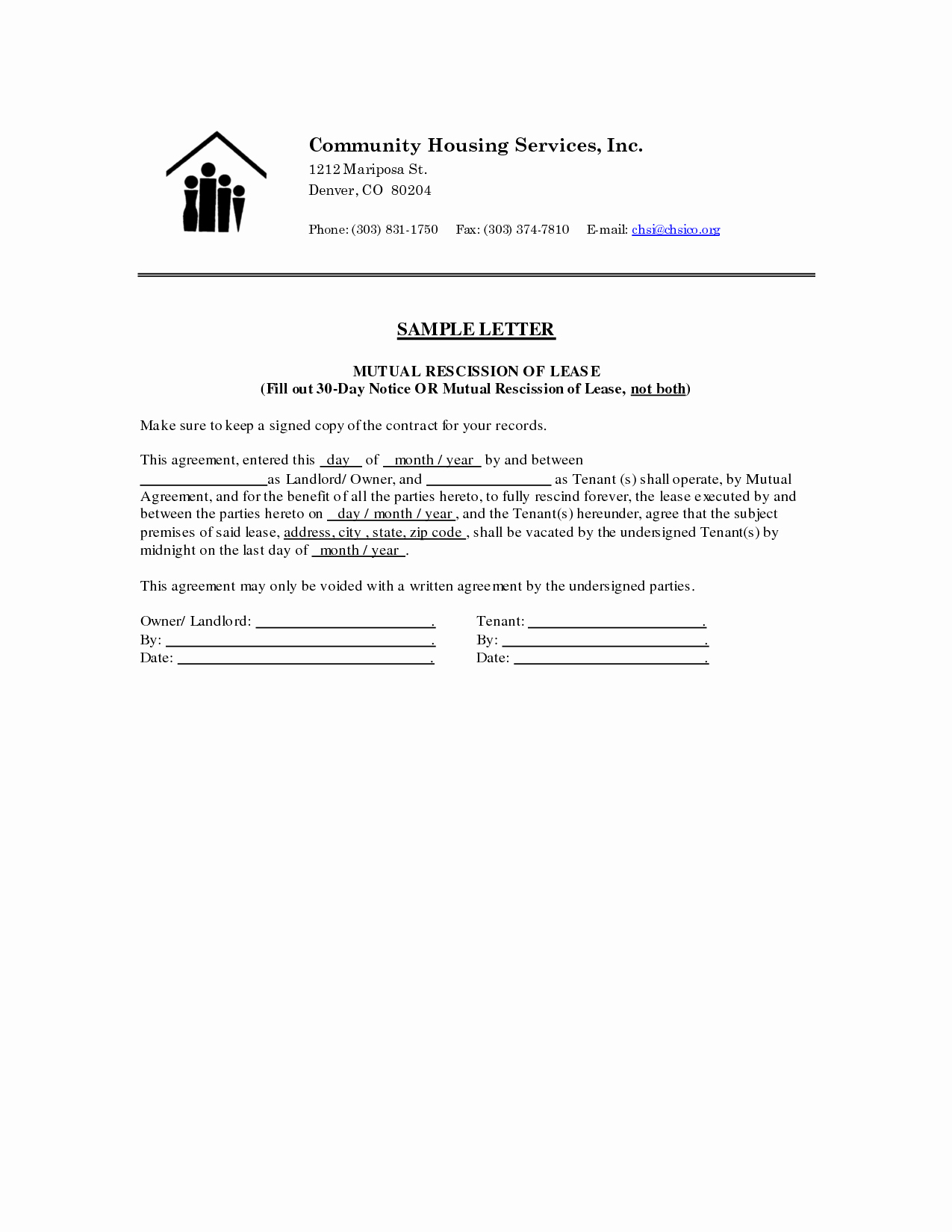 Rescission Letter Template - 20 Notice Lease Termination Letter