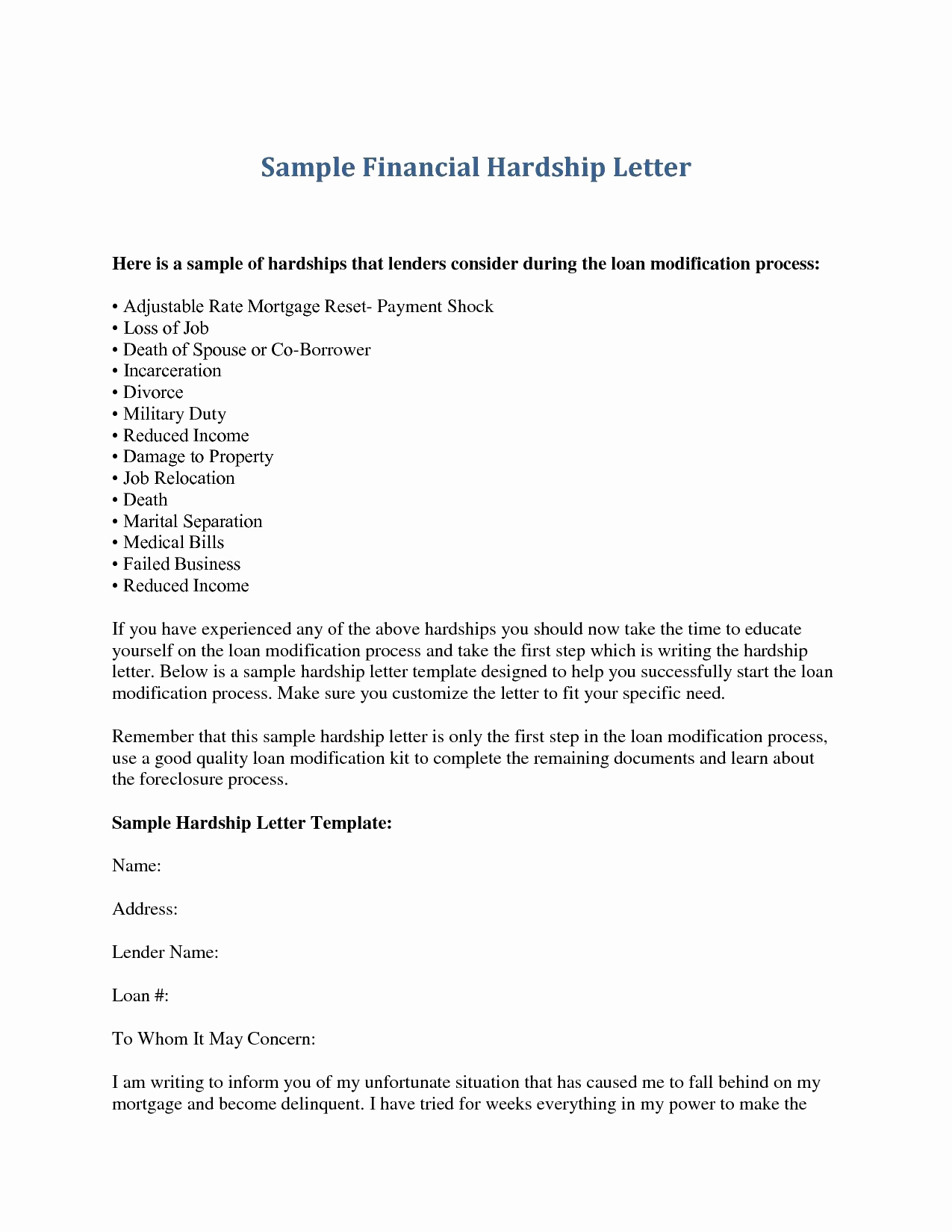Foreclosure Letter Template - 20 Sample Resume for Job Application