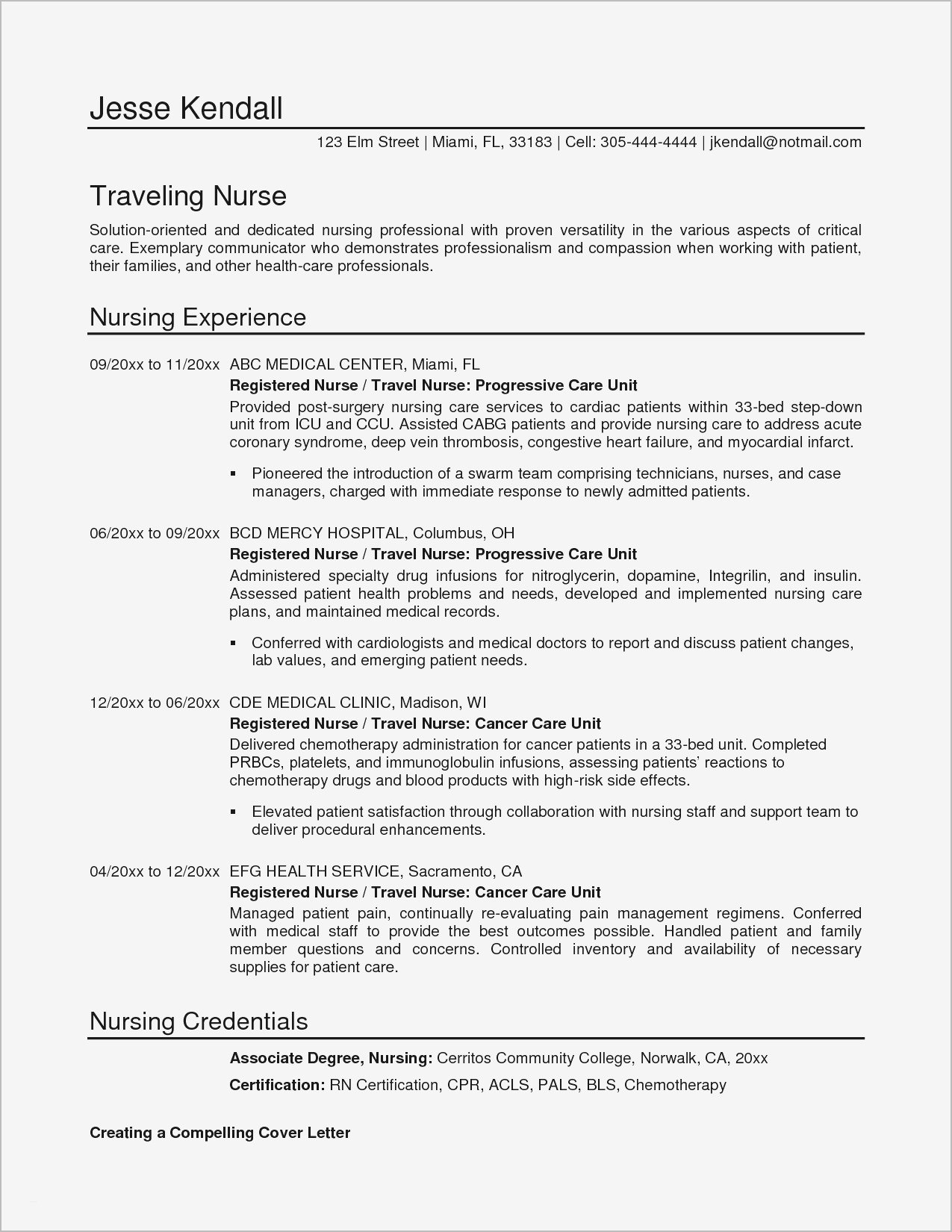 Registered Nurse Cover Letter Template - 21 Registered Nurse Resume Sample format Bcbostonians1986
