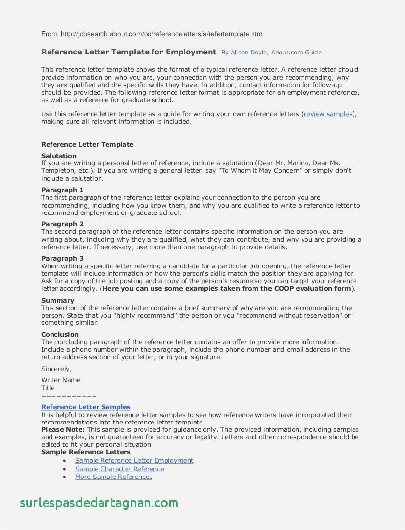 Free Reference Letter Template for Employment - 22 Free Example Letter Reference format