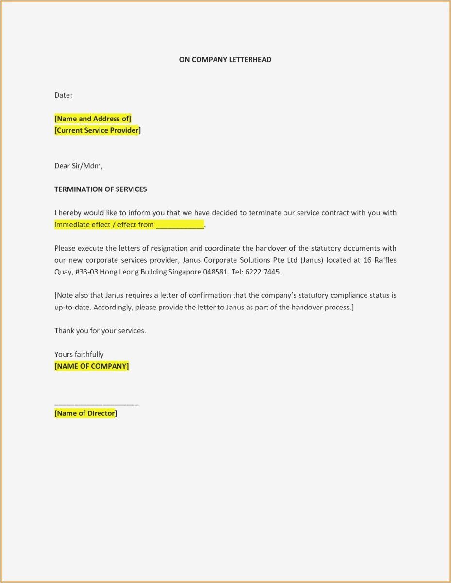 Discharge Letter Template - 23 Employment Termination Letter format