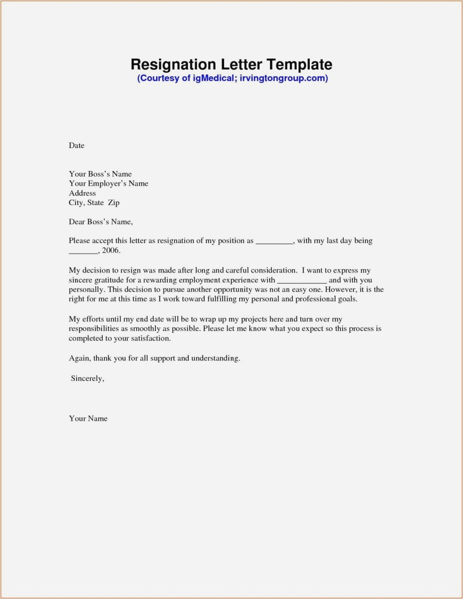 Resignation Letter Template Free - 23 New Writing Resignation Letter Examples