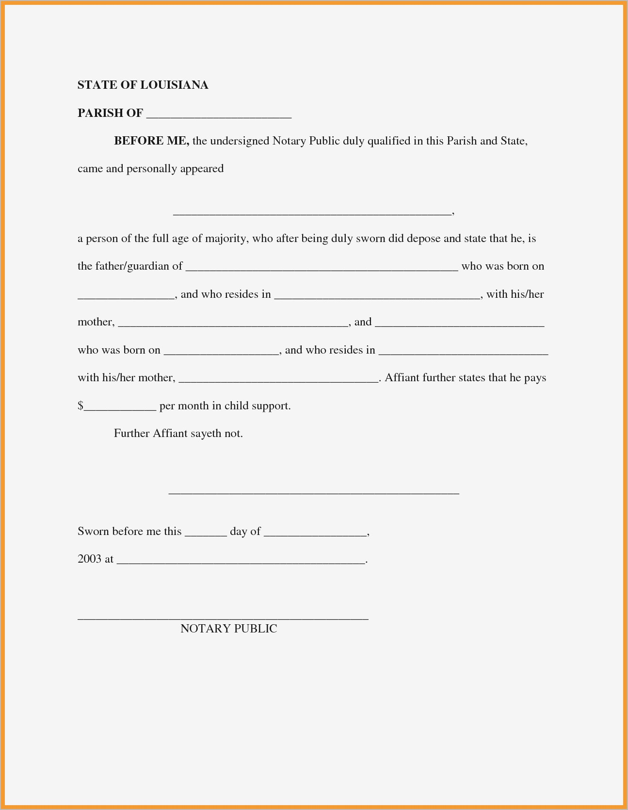 Proof Of Child Support Letter Template
