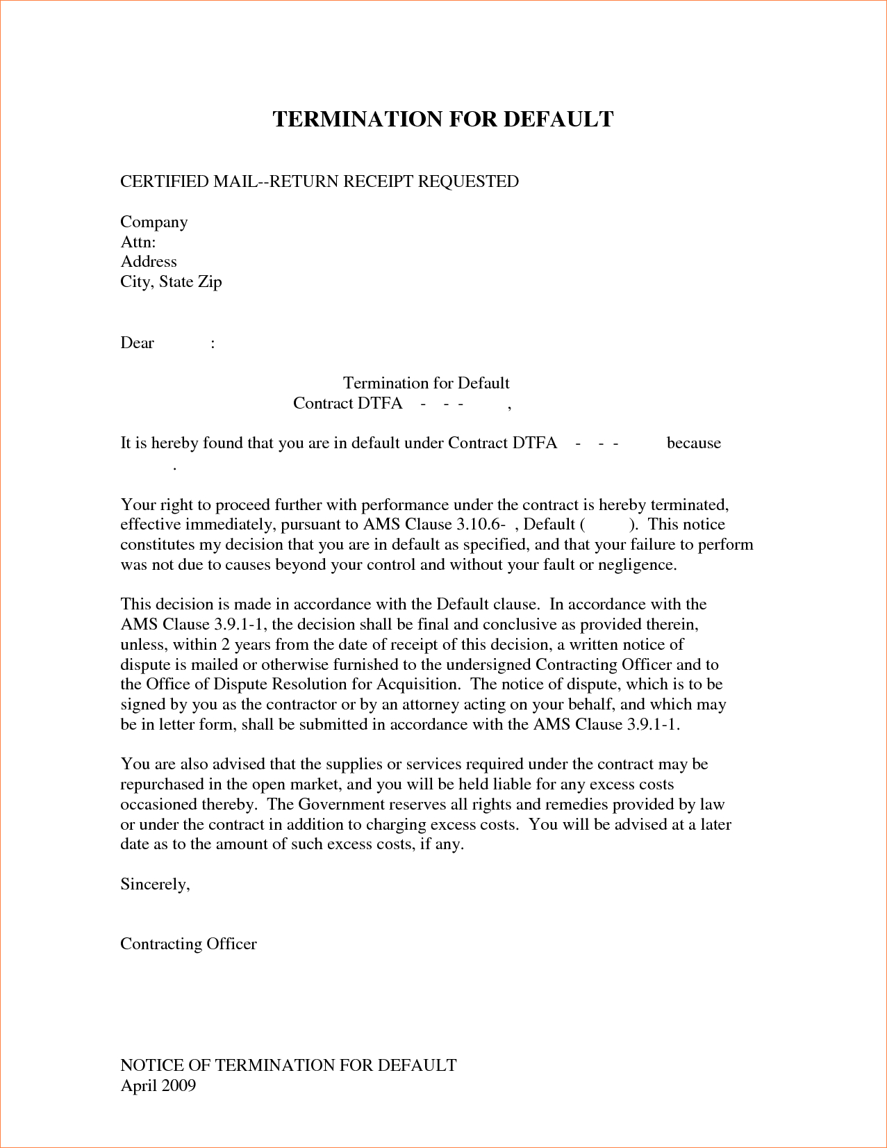 Termination Of Contract Agreement Letter Template - 24 Best Ending Lease Agreement Letter Sample