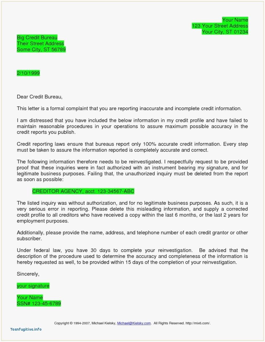 609 Dispute Letter to Credit Bureau Template - 24 Credit Dispute Letter Template Picture