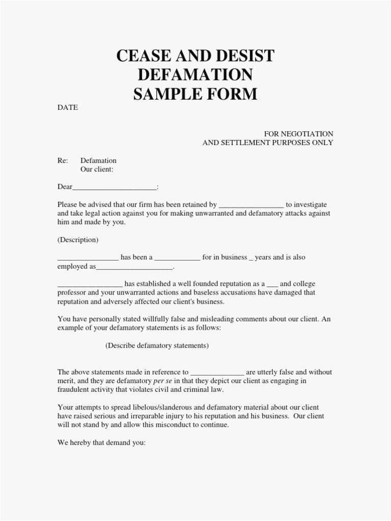 Cease and Desist Letter for Defamation Of Character Template - 26 Cease and Desist Letter Template Picture