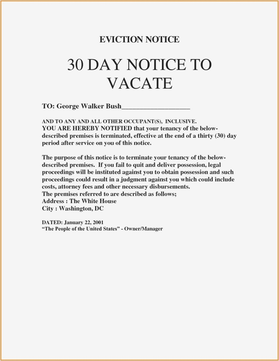 Eviction Notice Letter Template - 27 30 Day Notice to Vacate Template Picture