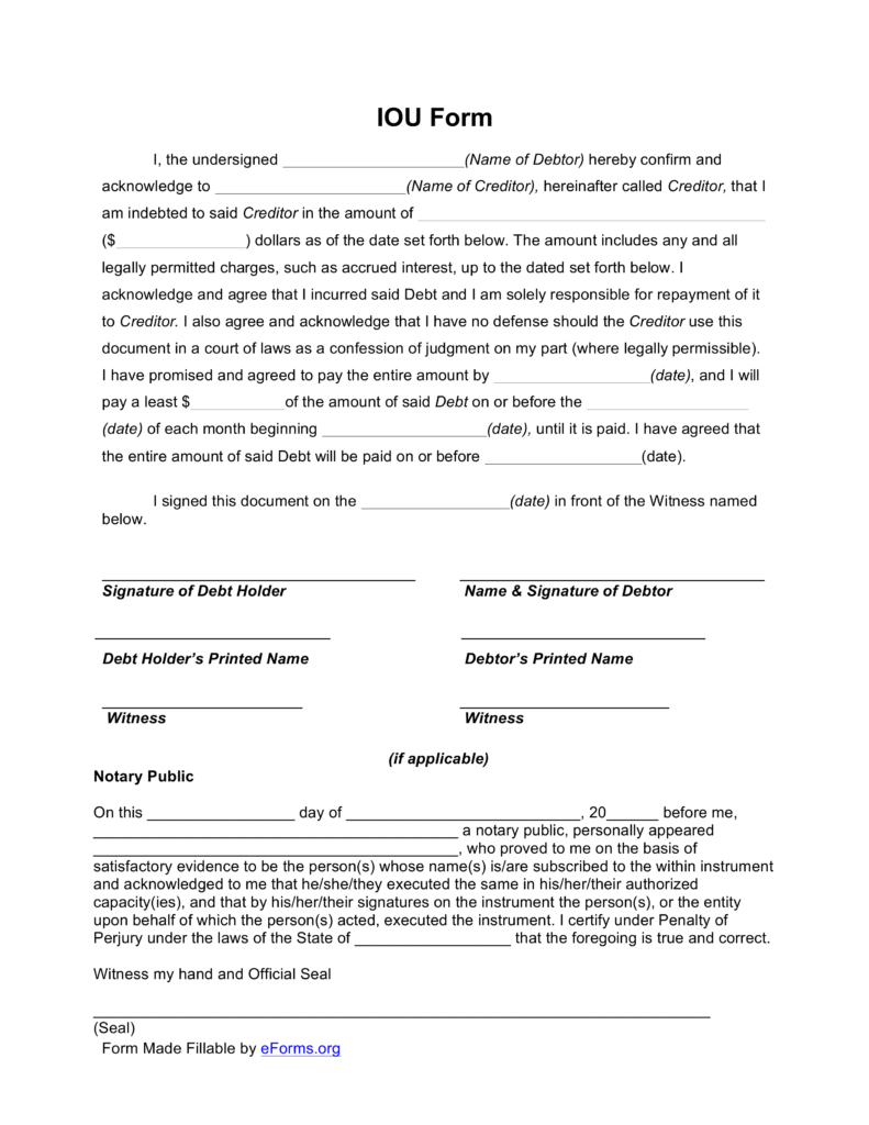 I Owe You Letter Template - 27 Of Template for Debt Owed