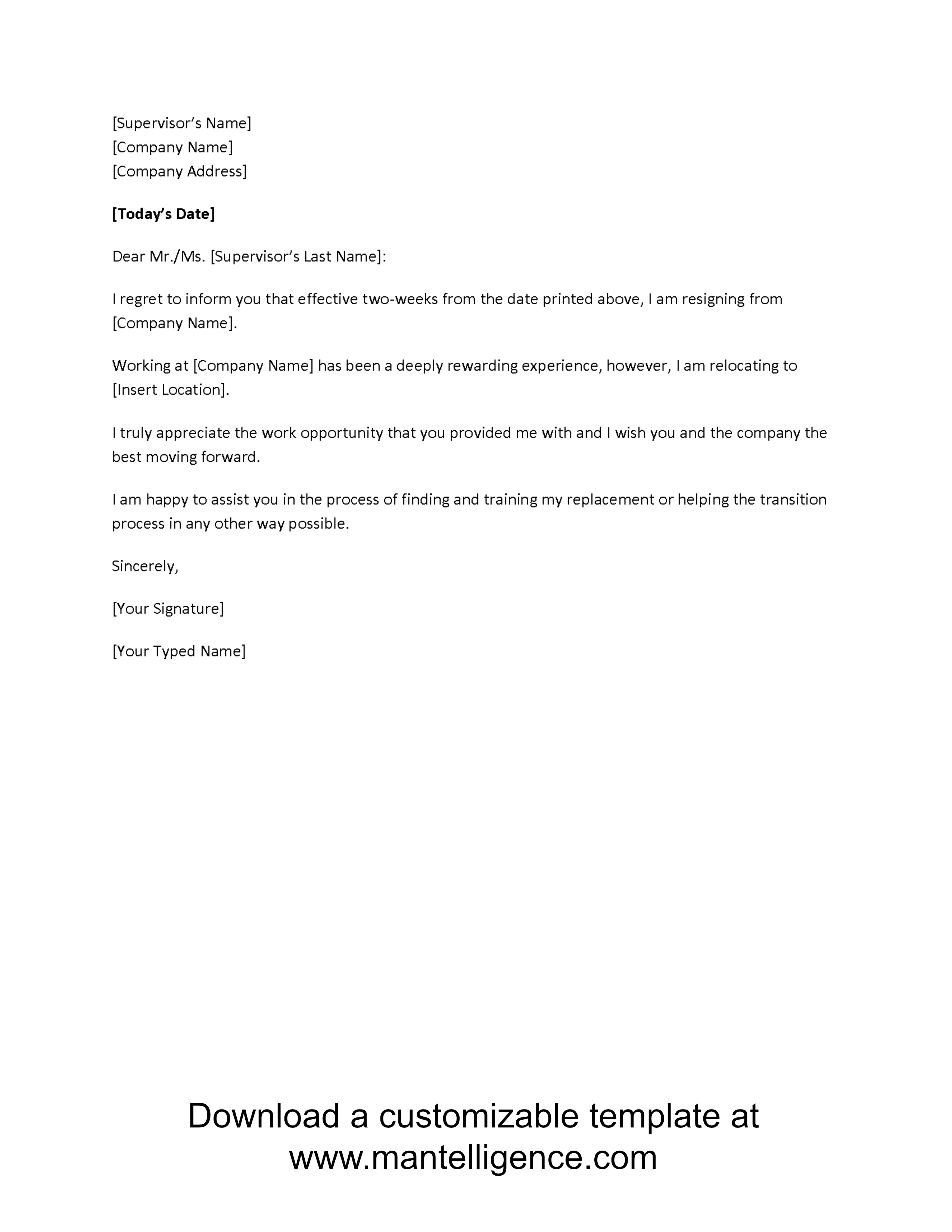 Direct Mail Letter Template - 3 Highly Professional Two Weeks Notice Letter Templates