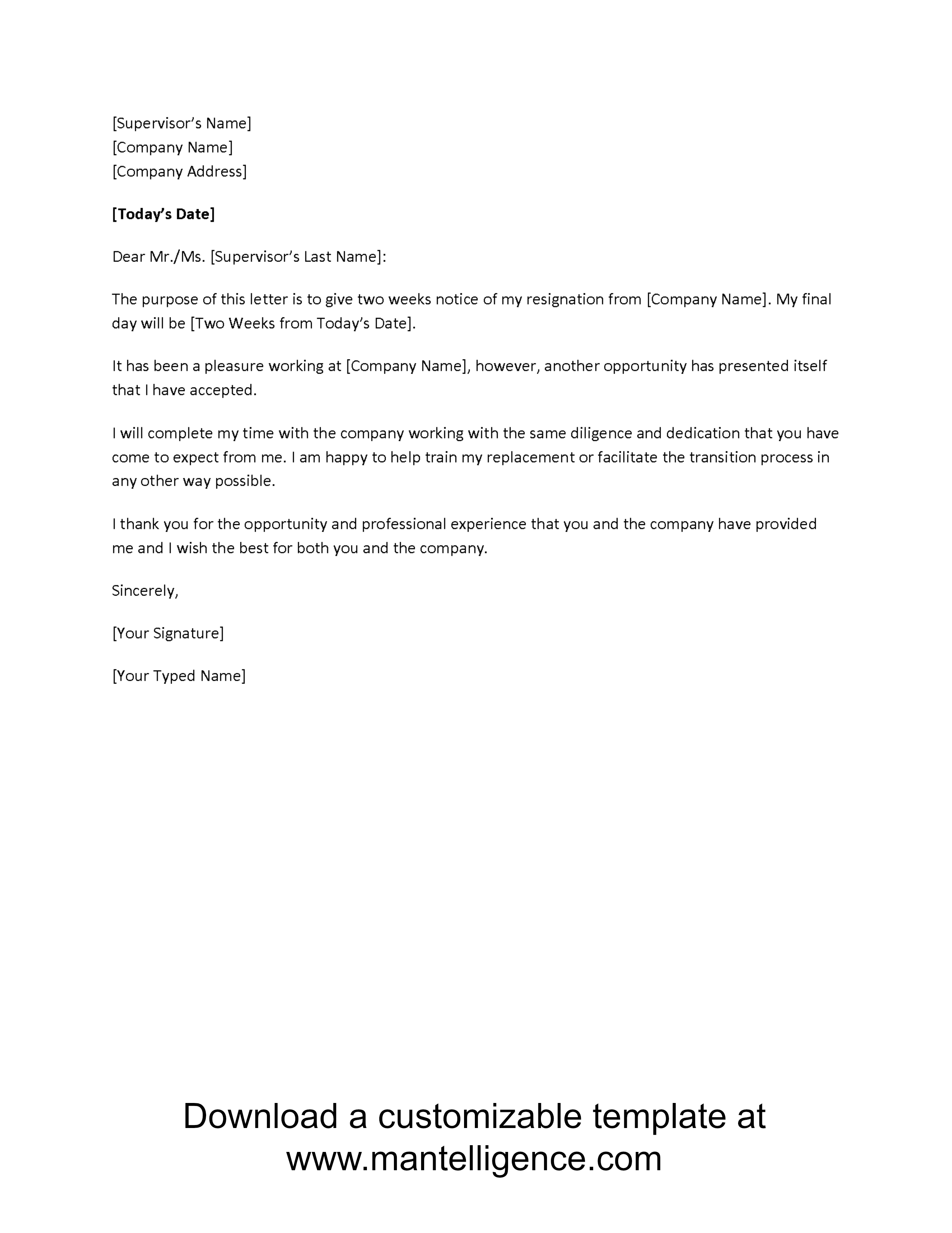 Letter Of Separation From Employer Template - 3 Highly Professional Two Weeks Notice Letter Templates
