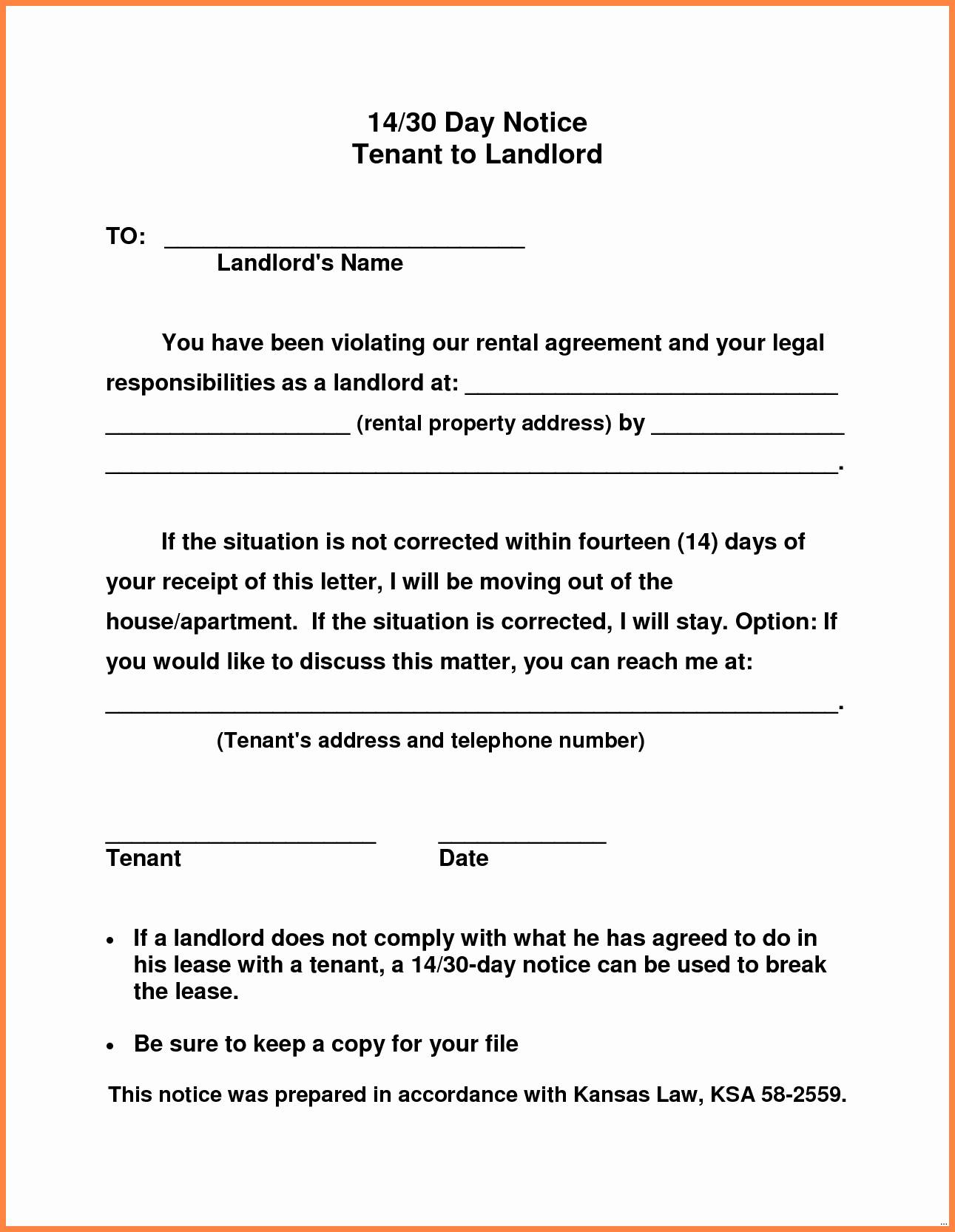 Landlord Notice Letter to Tenant Template - 30 Day Notice Template to Landlord Inspirational 20 Fresh Letter