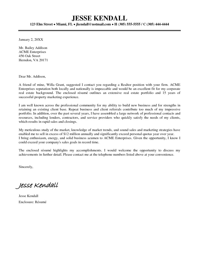 real estate agent letter of introduction