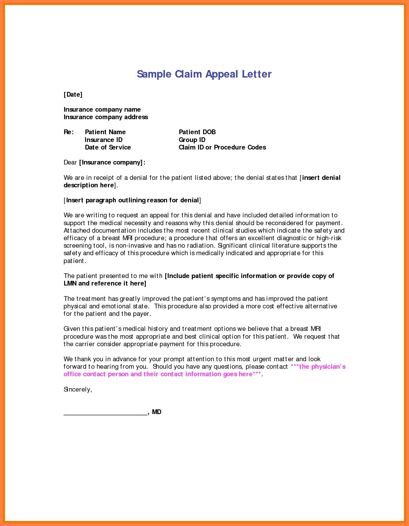 Insurance Denial Letter Template - 36 Lovely Insurance Appeal Letter Sample