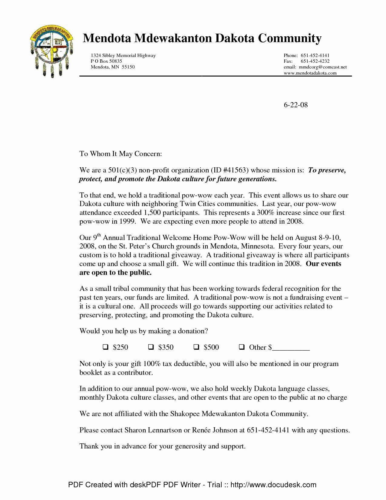 Non Profit Tax Deduction Letter Template - 37 Fresh Donation Request Letter for Non Profit