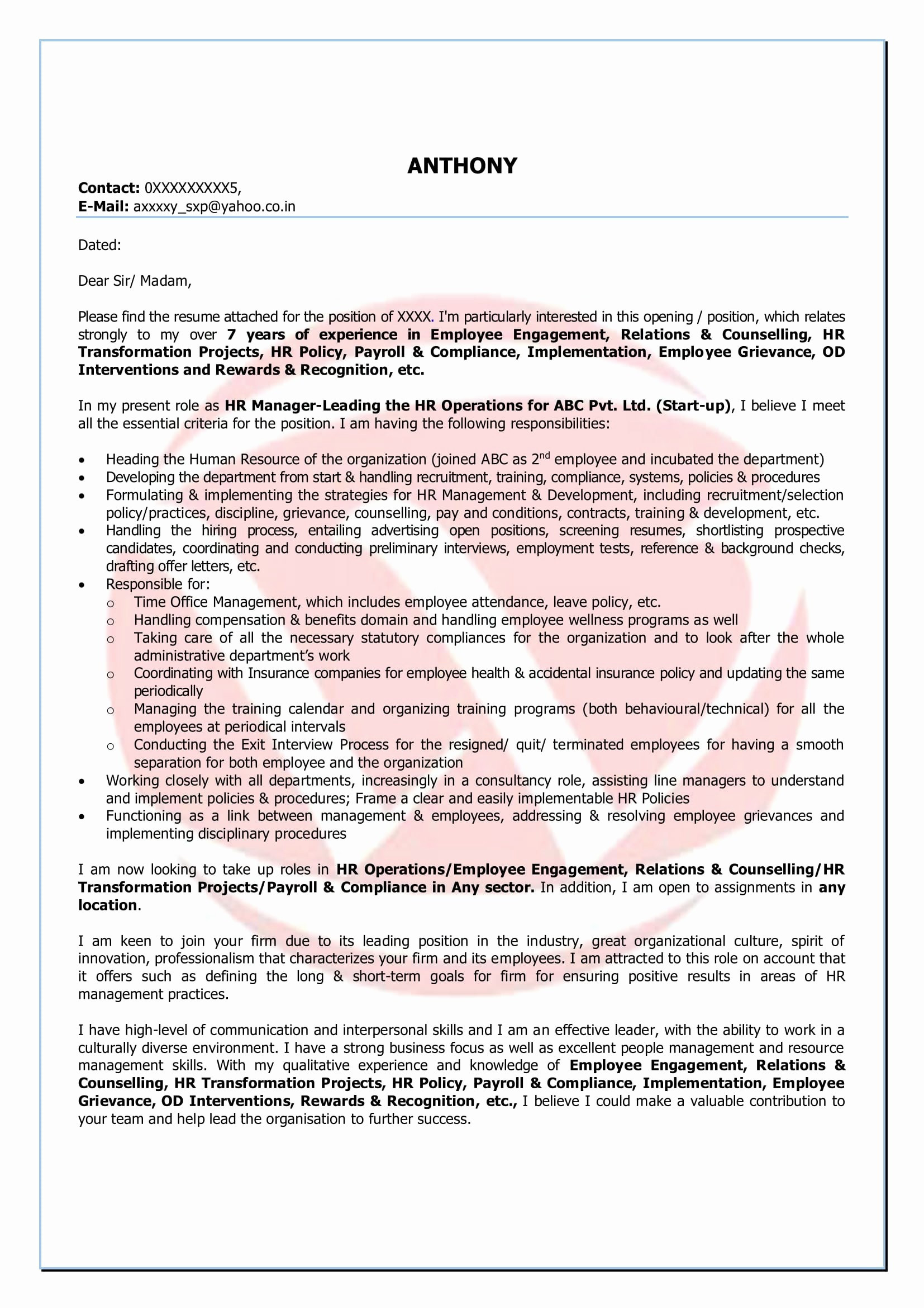 Short Cover Letter Template - 39 Beautiful Short Cover Letter Examples