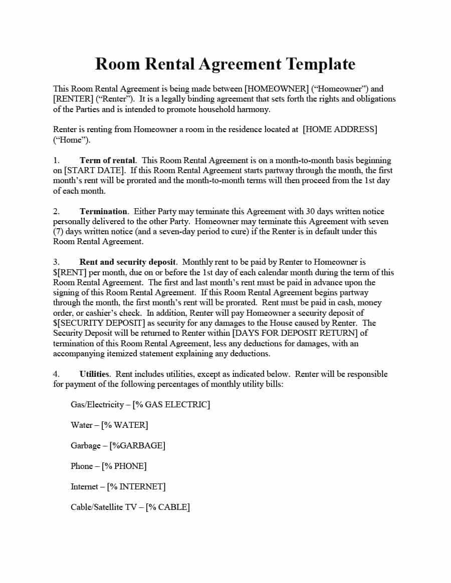 Self Storage Rent Increase Letter Template - 39 Simple Room Rental Agreement Templates Template Archive