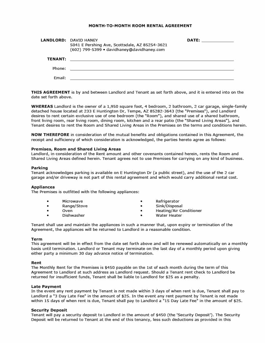 Vehicle Storage Fee Letter Template - 39 Simple Room Rental Agreement Templates Template Archive