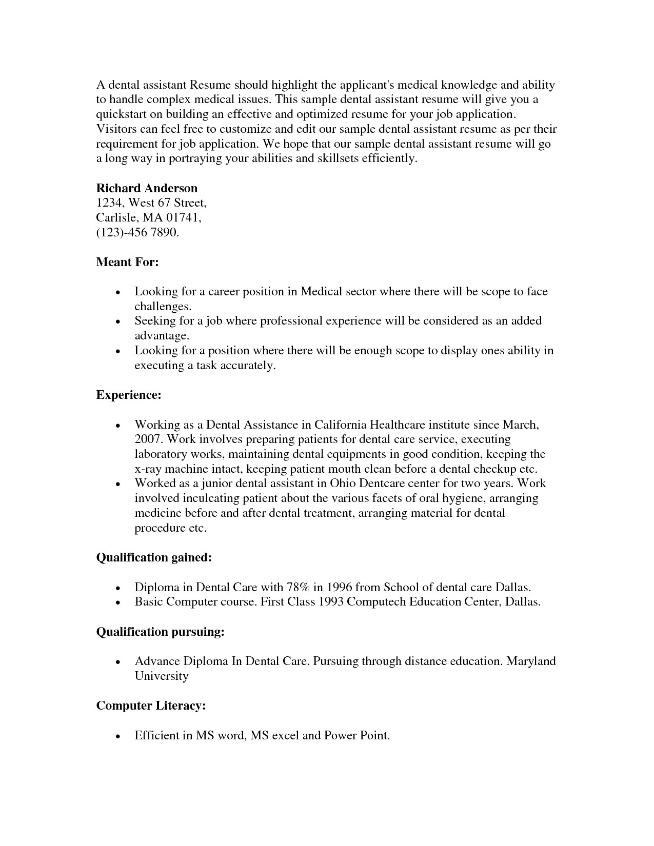 Dental assistant Cover Letter Template Examples