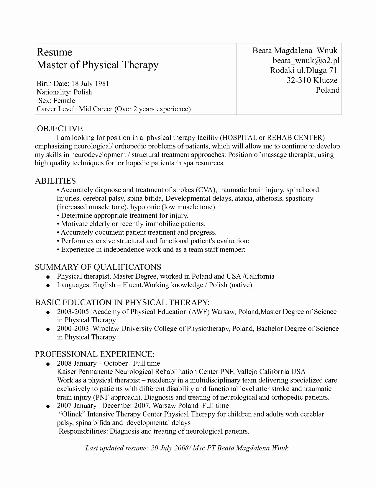 Physical therapy Cover Letter Template - 42 Unique Physical therapy Cover Letter