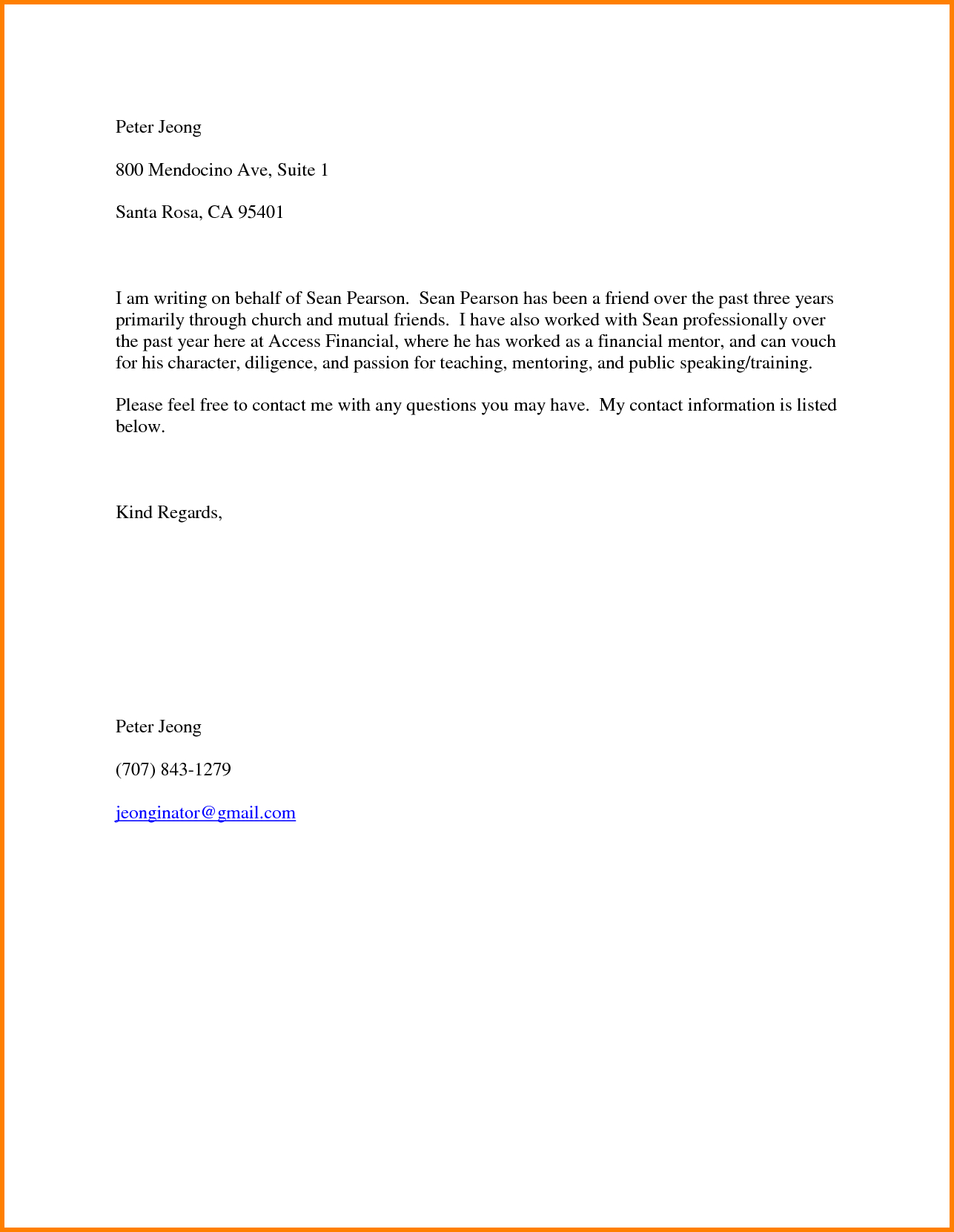 Housing Reference Letter Template - 7 Character Letter for A Friend Resume Reference