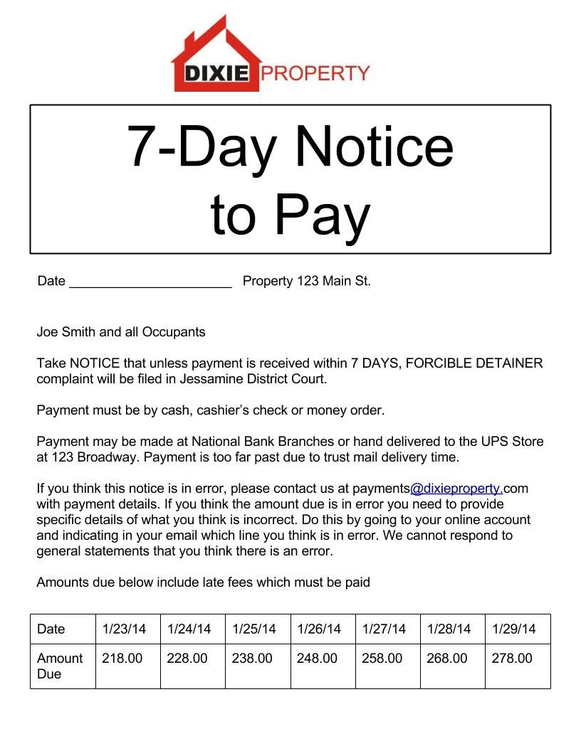 Letter Of Intent to Evict Template - 7 Day Notice to Pay Eviction form