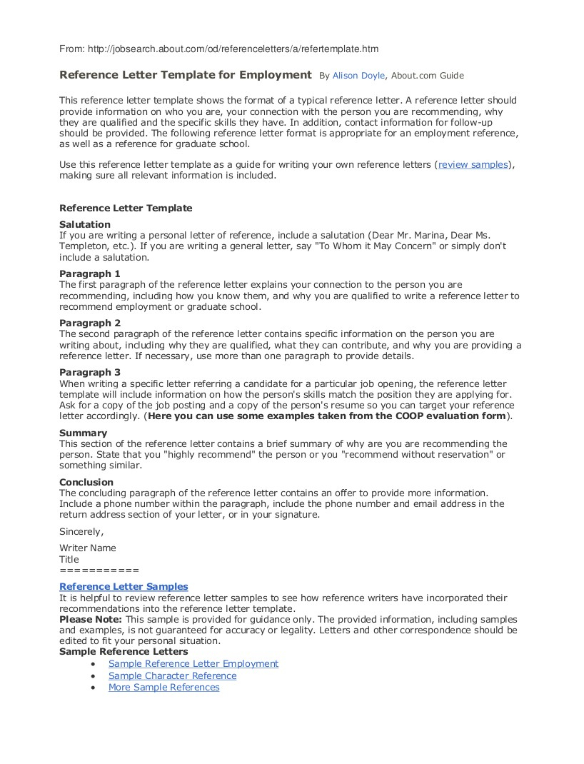 Letter Of Recommendation Letter Template - 9 Employee Reference Letter Examples & Samples In Pdf Reference