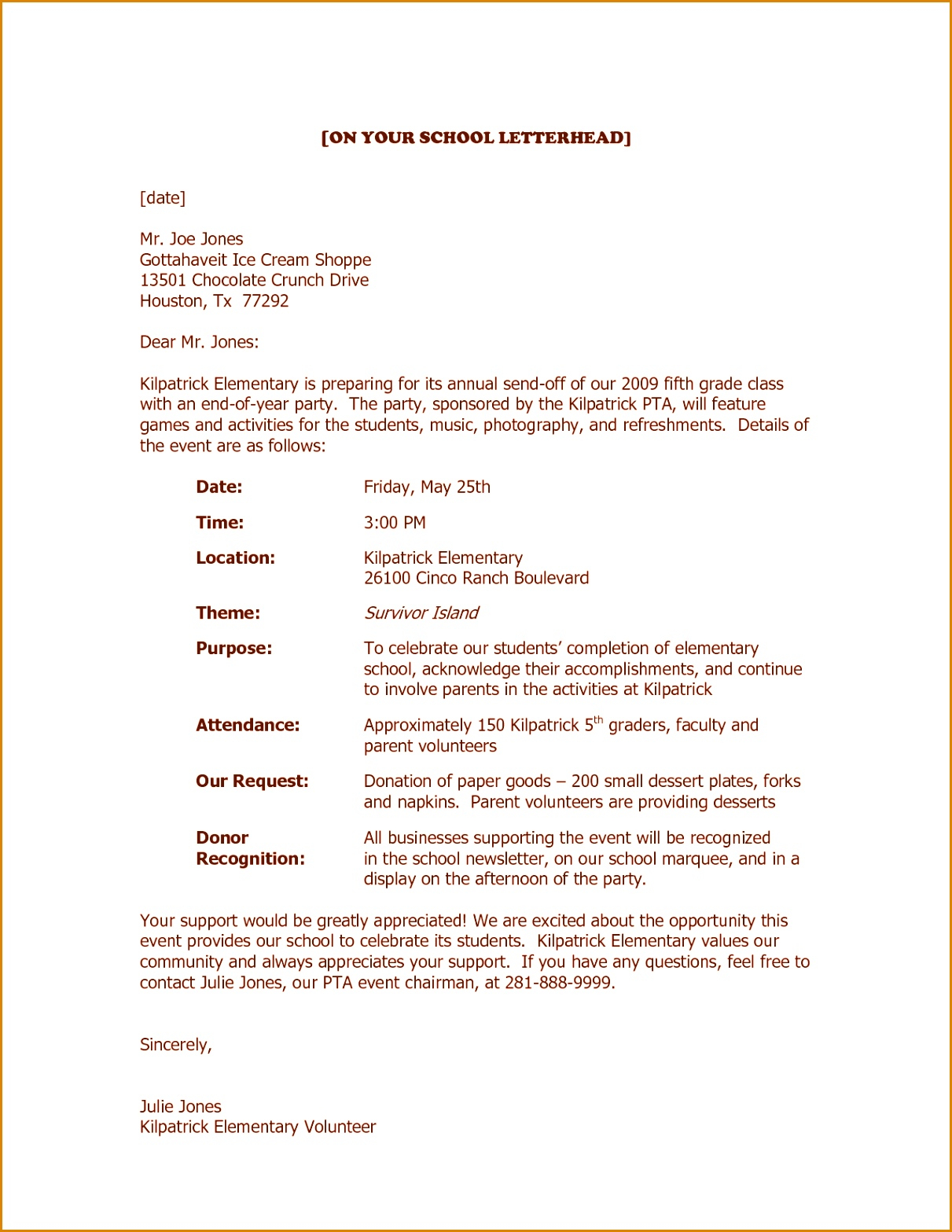 Fundraiser Request Letter Template - 9 Letter for Donations From Businesses Besttemplates Besttemplates