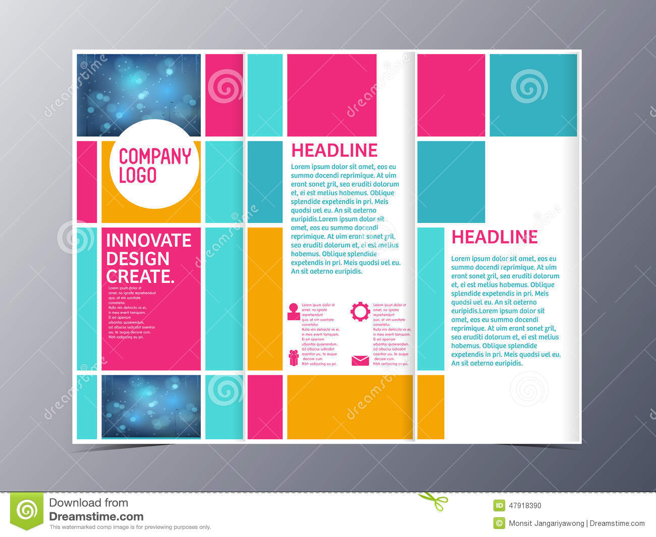 Tri Fold Letter Template - Abstract Colorful Brochure Design Template Vector Tri Fold Stock