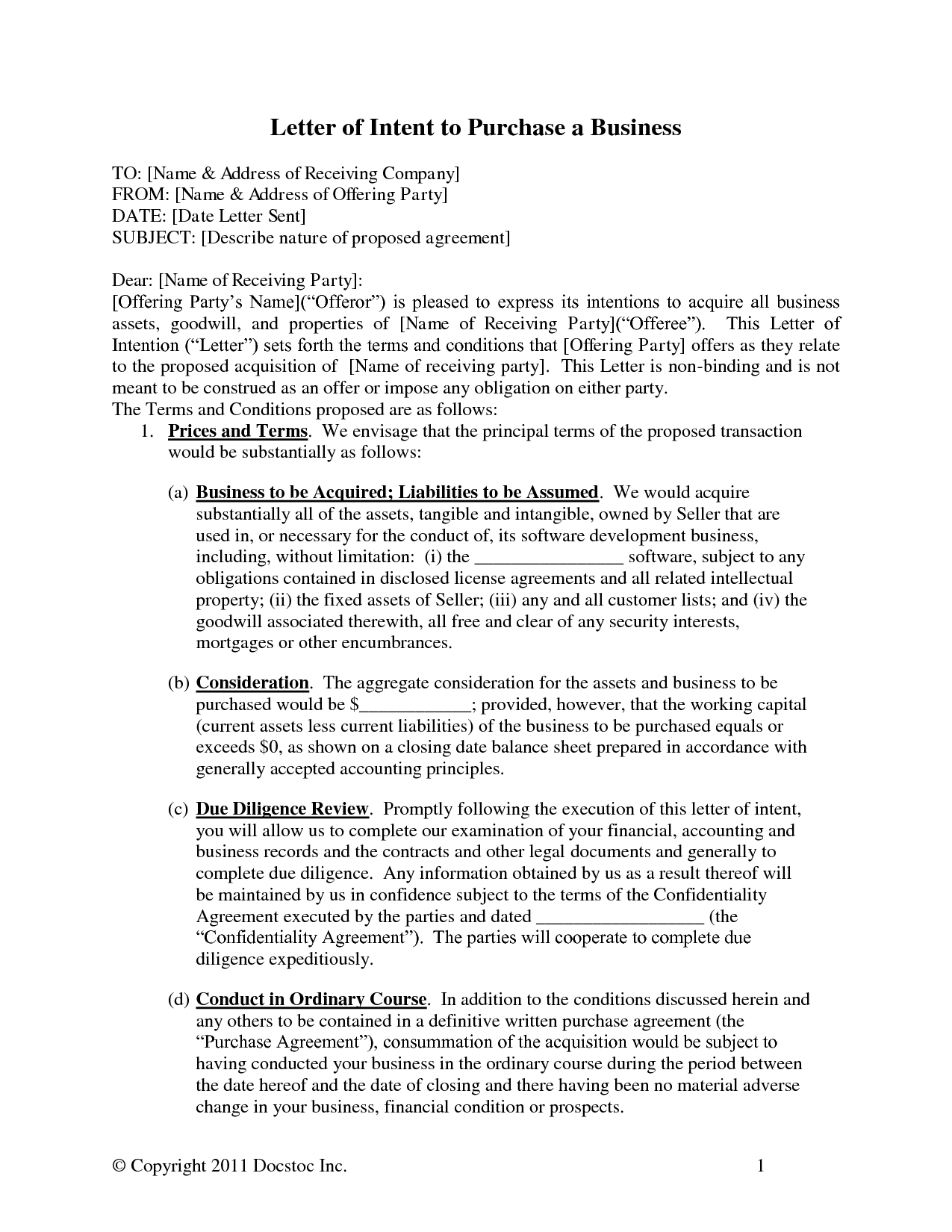 Letter Of Intent to Buy A Business Template - Acquisition Business Letters