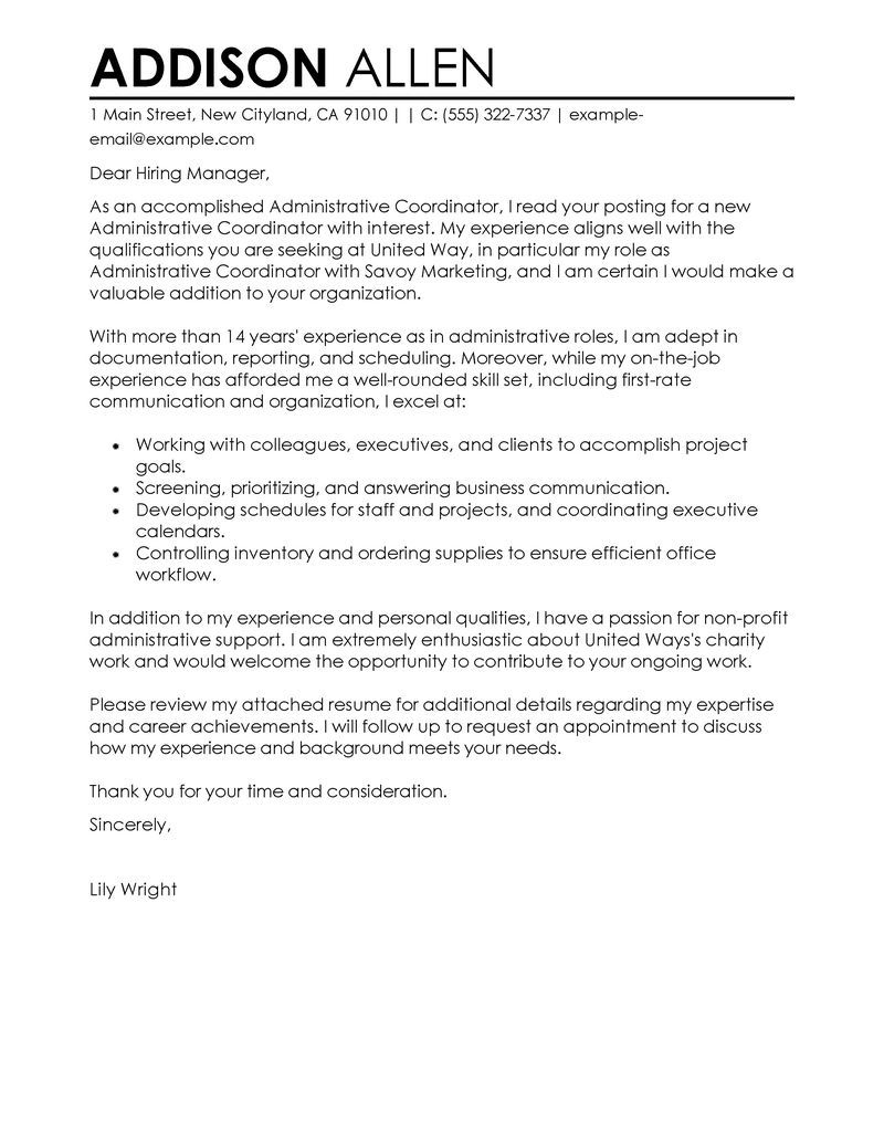 Cover Letter Template for Non Profit Jobs - Administrative Coordinator Cover Letter Examples