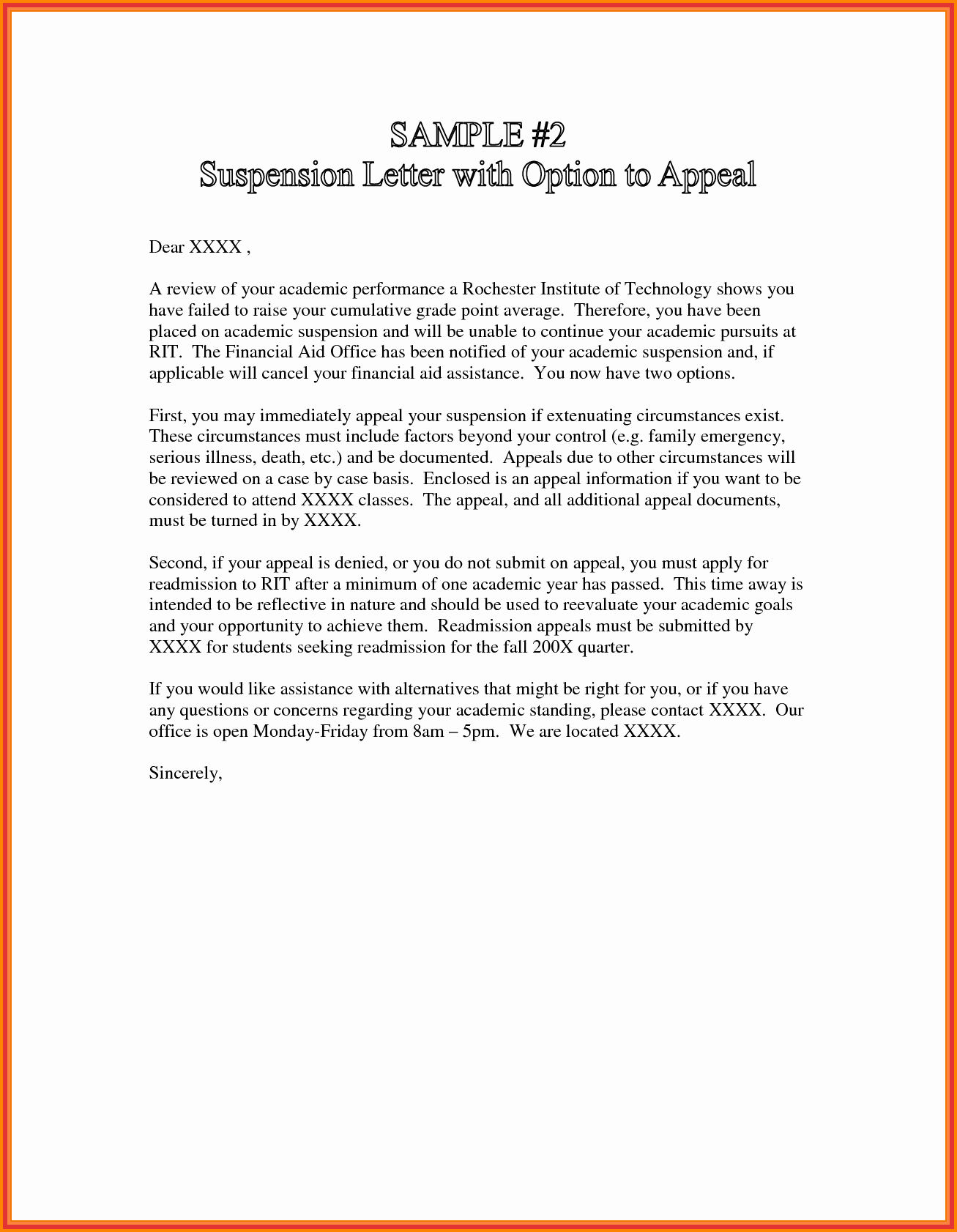 Academic Suspension Appeal Letter Examples from simpleartifact.com