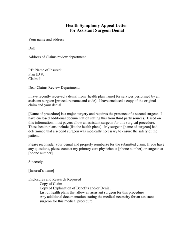 Medical Necessity Appeal Letter Template - Appeal Letter assistant Surgeon