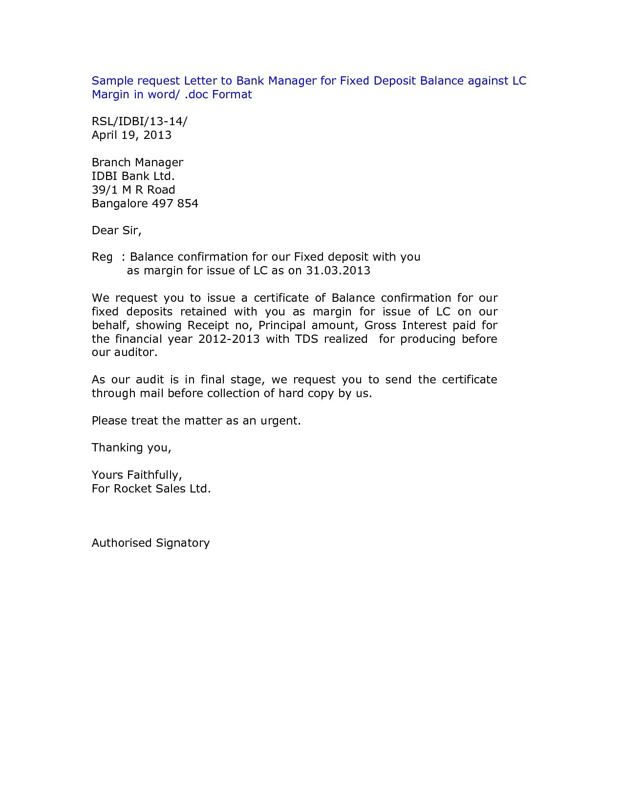 Letter Of Credit Confirmation Template - Application Letter to the Manager Bank New Letter format for Bank